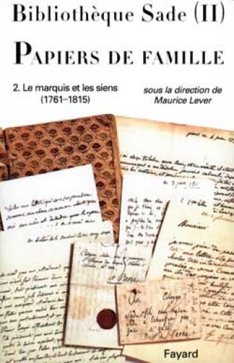 Bibliothèque Sade - Papiers de famille